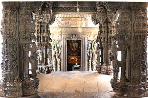Bhoga Nandeeshwara Temple - Vasantha mantapa, an ornate 13th century contribution from the Hoysala era to the Uma-Maheshvara shrine at the Bhoga Nandeeshwara temple complex