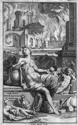 De bello Troiano - Venus and Cupid observe the destruction of Troy: frontispiece of the 1702 edition of Dictys, Dares and Joseph of Exeter
