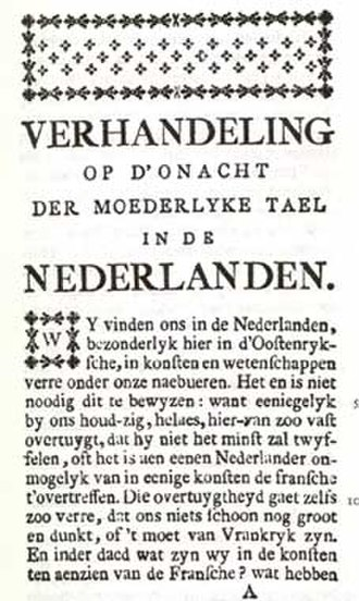 Jan-Baptist Verlooy - First page of the Essay on the disregard of the native language in the Netherlands (1788) by Jan-Baptist Verlooy
