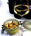 Verrine de veau Orloff à base de rosée des Pyrénées catalanes, rates confites à l'ail et AOC Vacqueyras blanc.JPG