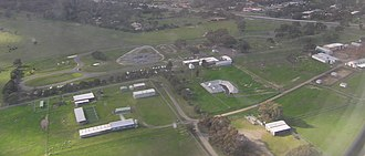 Attwood, Victoria - Police campus, with police dog kennels in the foreground, and driving range behind
