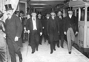 Argentine legislative election, 1914 - President Victorino de la Plaza (with cane) inaugurates Line A of the Buenos Aires Metro in late 1913. He continued Sáenz Peña's democratization.