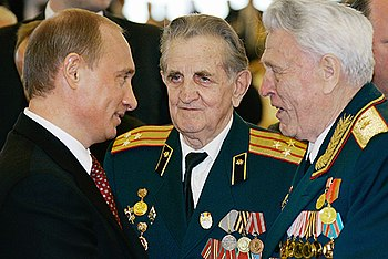 STATE KREMLIN PALACE, MOSCOW. With veterans.