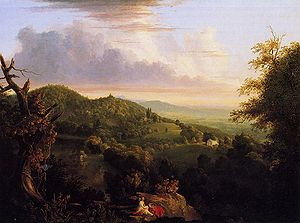 Daniel Wadsworth - View of Monte Video, Seat of Daniel Wadsworth, Esq., oil on panel, 1828, Thomas Cole. Wadsworth Atheneum
