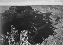 "View with rock formation, different angle, ""Grand Canyon National Park,"" Arizona., 1933 - 1942 - NARA - 519882.tif"