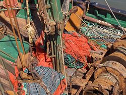 Fishing nets on a shrimp boat - Ostend, Belgium