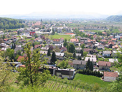 Vojnik, a view towards the south. The city in the background is Celje.