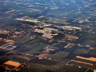 Wakarusa, Indiana - Wakarusa from the air, looking east