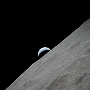 Waning crescent earth seen from the moon