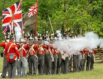 "War of 1812 - Re-enactors in UK uniforms fire muskets toward the ""Americans"" in this annual commemoration of the June 6, 1813 Battle of Stoney Creek."
