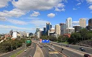 Warringah Freeway - Warringah Freeway looking south at its widest point - 16 lanes