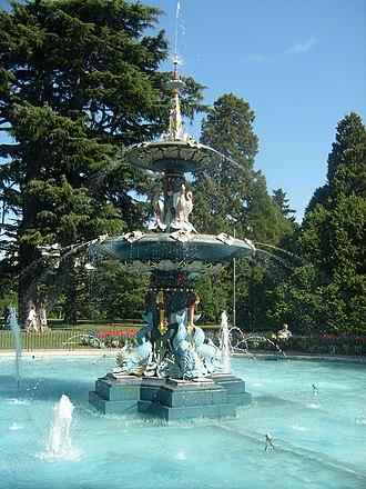 Christchurch Botanic Gardens - Image: Water fountain at Christchurch Botanical Gardens