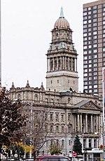 Wayne County Building (1897) from Monroe Street by John and Arthur Scott.