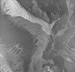 White Glacier, junction of valley glacier, banded ogives and trimline, September 17, 1972 (GLACIERS 5972).jpg