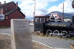 White Pass and Yukon golden spike at Carcross, Yukon.jpg