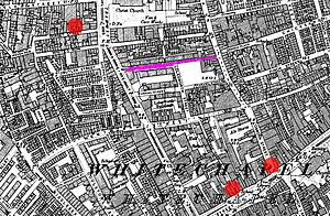 Flower and Dean Street - The location of Flower and Dean Street (mauve) and the murder sites of three victims of the Whitechapel murders.