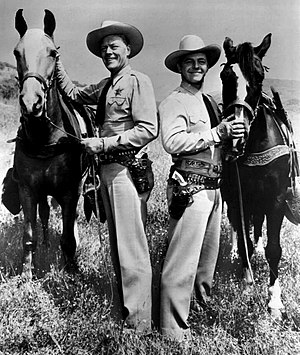 Tales of the Texas Rangers - Willard Parker (left) and Harry Lauter in 1957.