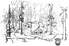 An architectural sketch of a rustic hunting lodge made of river rock, nestled amid tall pine trees at the edge of a river.