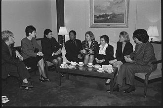 Women in the United States Senate - Eight women Senators meet in 1997. Left to right: Patty Murray, Susan Collins, Olympia Snowe, Carol Moseley-Braun, Kay Bailey Hutchison, Barbara Mikulski, Mary Landrieu, and Dianne Feinstein.