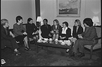 Eight women senators meet in 1997. Left to right: Patty Murray, Susan Collins, Olympia Snowe, Carol Moseley-Braun, Kay Bailey Hutchison, Barbara Mikulski, Mary Landrieu, and Dianne Feinstein. Women United States Senators in 1997.jpg