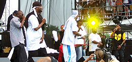 Members of the Wu-Tang Clan and their affiliates performing at the Virgin Festival in Baltimore