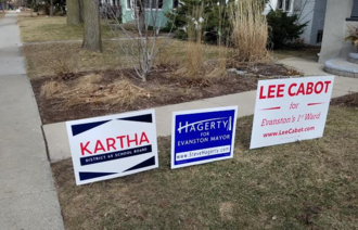 Steve Hagerty - Lawn signs for Hagerty (center) and other Evanston candidates in February 2017