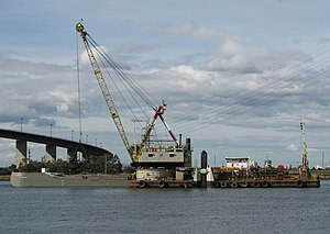 Port Phillip Channel Deepening Project -  Goomai and barge Resolution during dredging operations on the Yarra River.