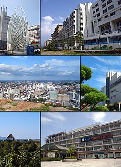 Top left: Statue of Station Square, Top right: Kaike Spa and Kaike Coast, 2nd left: Yonago Castle Site, 2nd right: Yonago Takashimaya, 3rd left: Mugibandai ruins in Yodoe, 3rd right: Yonago Station