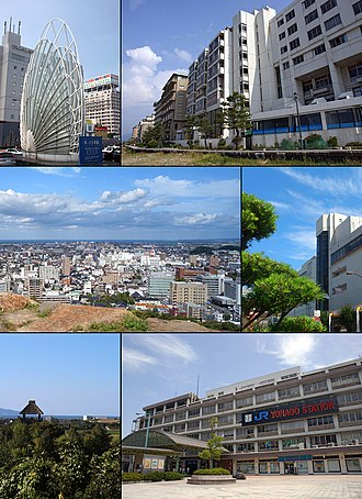 Yonago, Tottori - Top left: Statue of Station Square, Top right: Kaike Spa and Kaike Coast, 2nd left: Yonago Castle Site, 2nd right: Yonago Takashimaya, 3rd left: Mugibandai ruins in Yodoe, 3rd right: Yonago Station