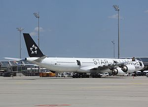 Star Alliance - A South African Airways A340 in Star Alliance livery at Munich Airport