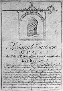 Trade Card De Zachariah Carleton Vendeur Couteaux Et Autres Instruments Tranchants Covent Garden Londres 170 X 125 Mm 1739 Fonds Wellcome Trust
