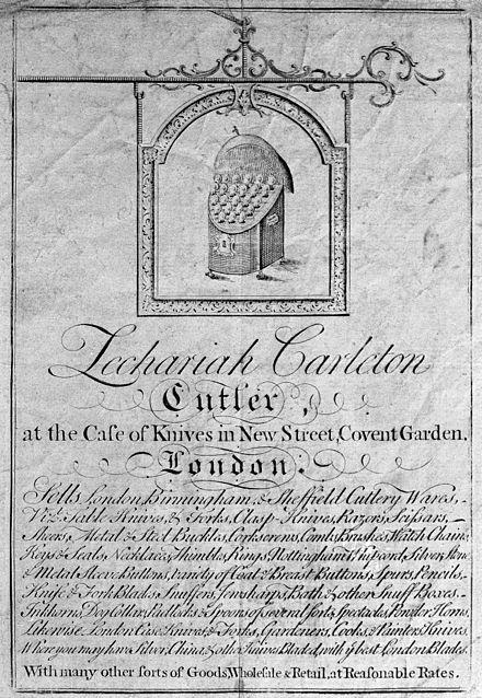 Trade Card De Zachariah Carleton Vendeur Couteaux Et Autres Instruments Tranchants Covent Garden