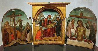 Cretan School - Deposition, Lamentation and Resurrection triptych by Nikolaos Zafouris, c. 1490s (National Museum, Warsaw).