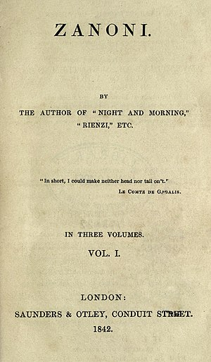 Zanoni - First edition title page