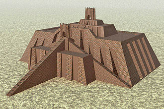 Sin (mythology) - Reconstruction of the Ziggurat of Ur, the main shrine to Nanna, based on the 1939 reconstruction by Leonard Woolley (Ur Excavations vol. V, fig. 1.4)