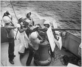 """Five steward's mates stand at their battle stations, as a gun crew aboard a Coast Guard-manned frigate in the southwest - NARA - 513214.tif"