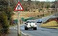 """Road narrows"" sign, Lisburn - geograph.org.uk - 1749957.jpg"
