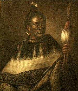 Dunedin Public Art Gallery - Image: 'Chief Ngairo Rakaihikuroa in Wairarapa, New Zealand', oil on canvas painting by Gottfried Lindauer, Dunedin Public Art Gallery