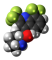(SR)-Mefloquine molecule spacefill.png
