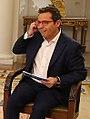 (Sergio Martín) El presidente del Gobierno, Pedro Sánchez, al inicio de la entrevista concedida a RTVE en La Moncloa.jpg