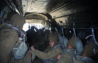 35th Guards Air Assault Brigade - Soldiers of the brigade in an An-12 preparing for an airborne drop, 1996