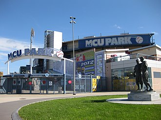 MCU Park - MCU Park in 2012; the statue of Jackie Robinson and Pee Wee Reese is at the right