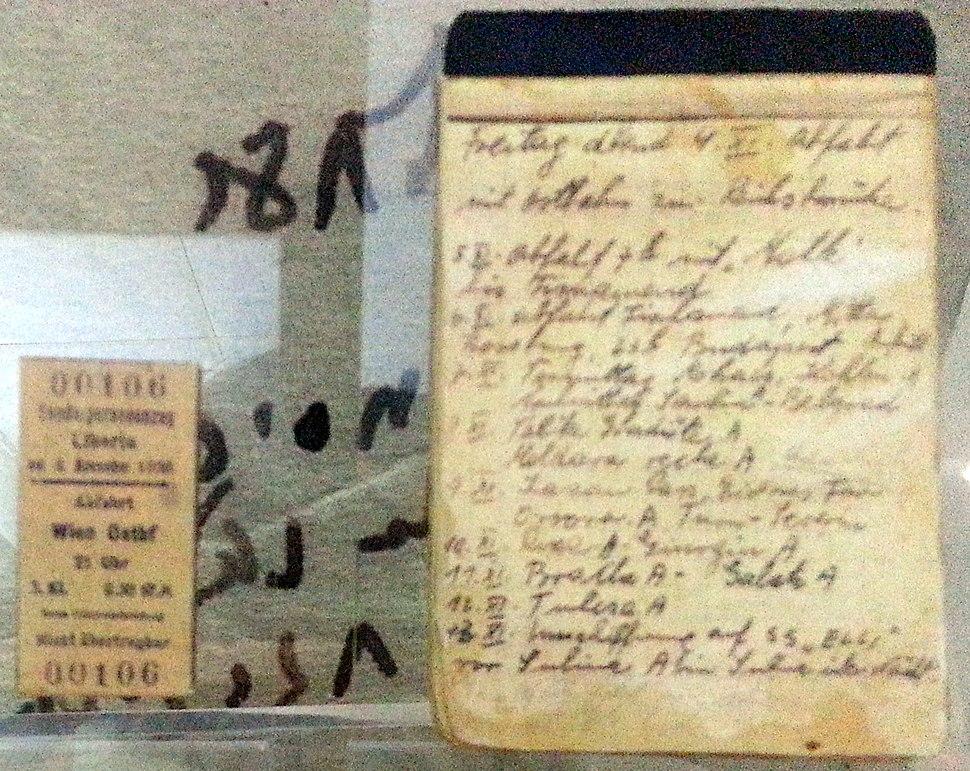 יומן מסע וכרטיס רכבת של מרדכי גרינפלר, מעפיל באוניית המעפילים 'אלי'
