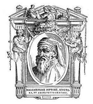 Margaritone d'Arezzo - Posthumous portrait of Margaritone d'Arezzo, from Vasari's Lives