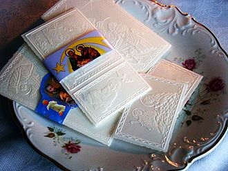 Wigilia - Christmas wafer opłatek symbolizing bread
