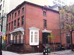 East 17th Street/Irving Place Historic District - An unfounded local legend claims that writer Washington Irving, for whom Irving Place is named, lived in the house in the foreground house, 122 East 17th Street, also known as 49 Irving Place; also in the photo is 47 Irving Place.