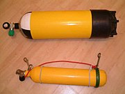 12 litre and 3 litre steel diving cylinders