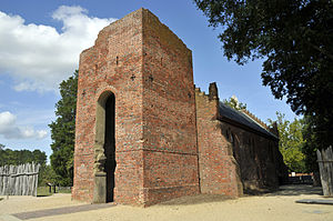 Jamestown, Virginia - The ruined tower of the 17th century Jamestown Church; the nave was reconstructed in 1907 on the original foundations