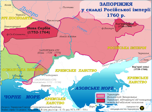 Novorossiya Governorate - Zaporizhian Sich in 1760 with territories colonized by foreigners