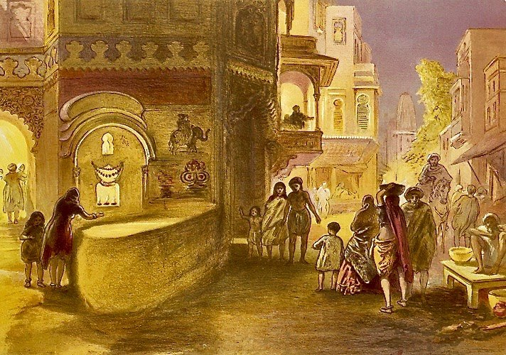 1867 CE chromolithograph, Diwali, feast of lamps, by William Simpson